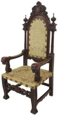 LARGE ANTIQUE SPANISH FIGURAL CARVED THRONE CHAIR : Lot 204
