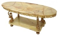 TWO-TIER ONYX & GILT BRASS DOLPHIN COFFEE TABLE : Lot 150
