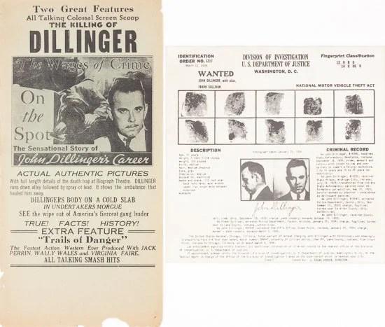 John Dillinger Poster and fingerprint card 1930u0027s Gangsters - criminal wanted poster