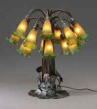 0301: Bronze Tiffany Style Lily Lamp : Lot 301