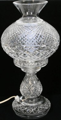 031290: WATERFORD CRYSTAL LAMP WITH HURRICANE GLOBE : Lot ...