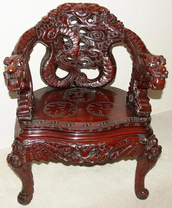030023 Chinese Teakwood Dragon Chair C1900 Lot 30023
