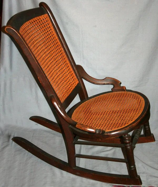 010515 American Antique Wood And Cane Rocking Chair Lot