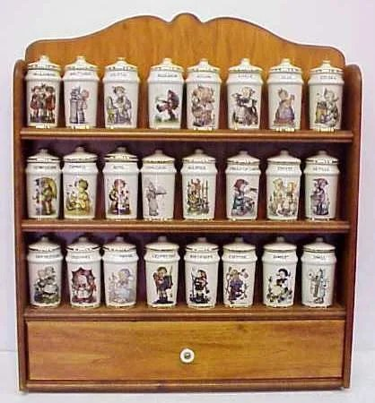 206a Mj Hummel Goebel 24 Spice Jar Set With Rack