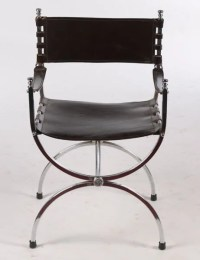 PR MODERN CHROME LEATHER CAMPAIGN CHAIRS SLING : Lot 628
