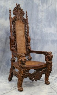187: 2 Ornately Carved Medieval Style Chairs, late 20th ...