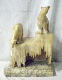 Art Deco Alabaster & Marble Polar Bear Lamp : Lot 1153