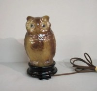 732: TIFFIN GLASS OWL LAMP. Figural glass owl with clea ...