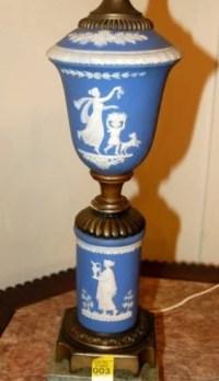 3: Wedgewood Jasperware Lamp w/ Applied Classical Decor ...