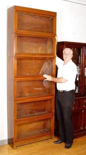 1123 Walnut Globe Wernicke Stacking Bookcase 8 Ft Tall