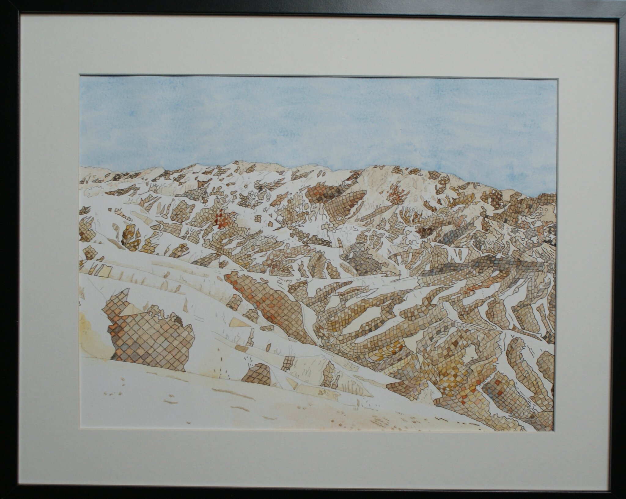 Cadre 40x30 31 Death Valley Zabriskie Point Aquarelle 40x30 Dans