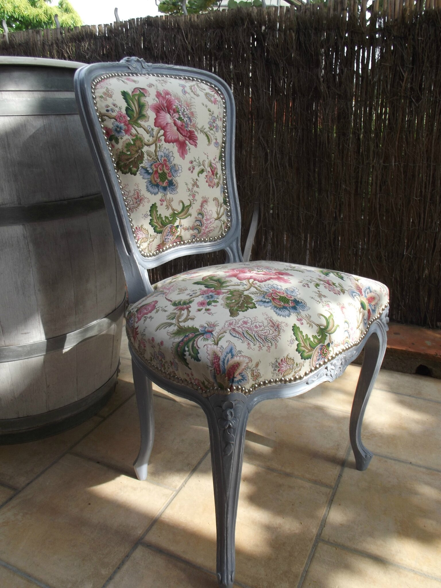 Chaise Fauteuil De Table Chaise Louis Xv Relookée - Patine-deco