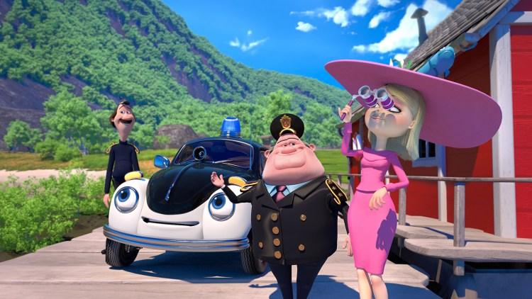 Hele politistyrken i Pelle Politibil på sporet (Foto: Neofilm / Qvisten Animation).