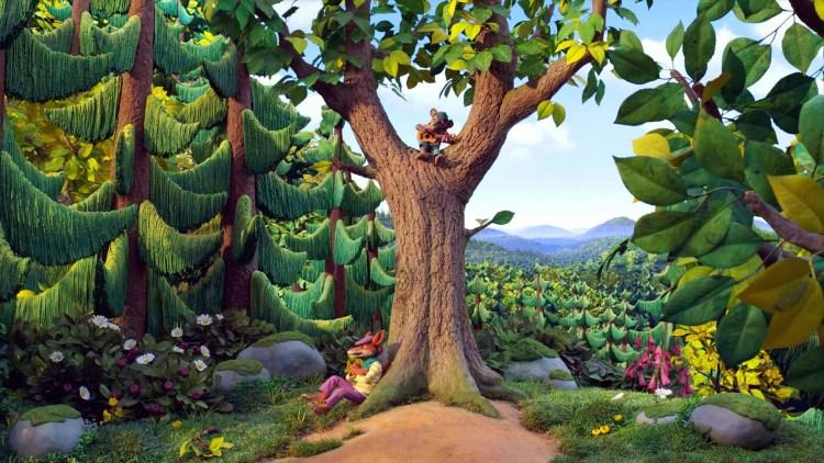Mikkel Rev venter på at Klatremus skal komme ned fra treet i Dyrene i Hakkebakkeskogen. (Foto: SF Studios / Qvisten Animasjon)