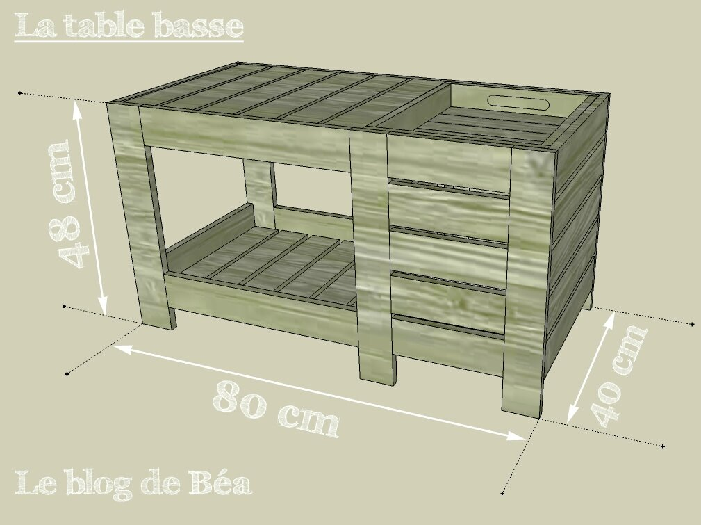 Fabrication Table Basse Palette Diy : Table Basse En Bois De Palette Avec Coffre De