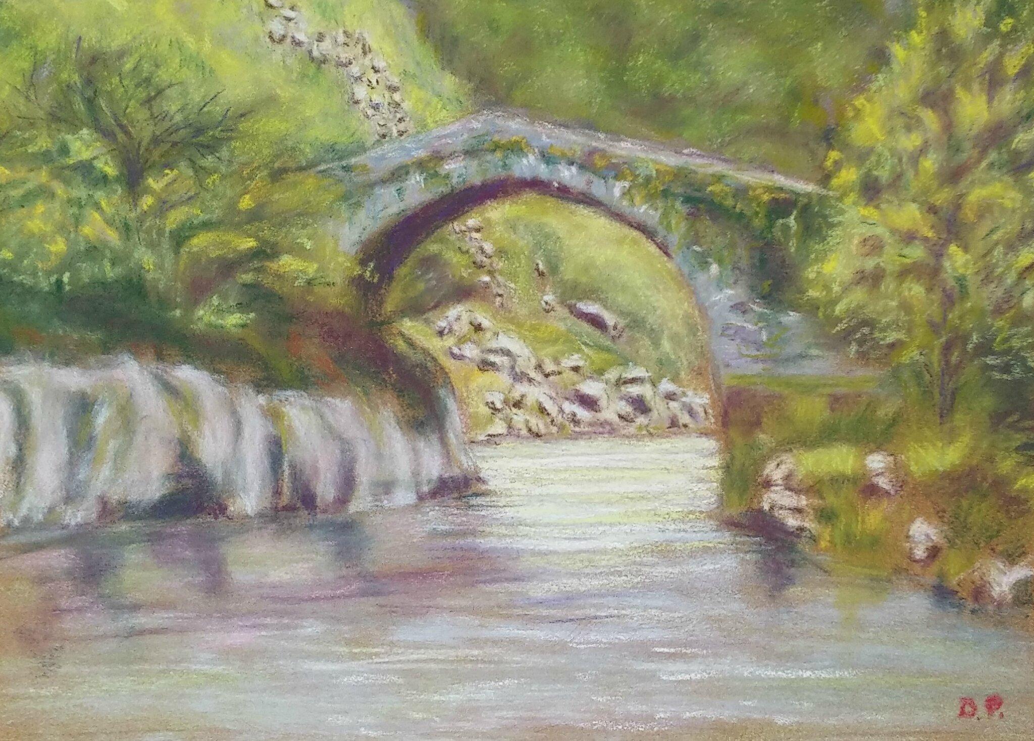 Paysages Pastel Sec Vieux Pont Petit Chemin