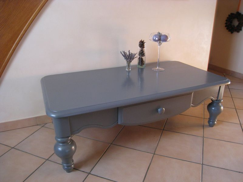 Relooker Table Basse En Pin Table Basse Grise - Patines & Couleurs