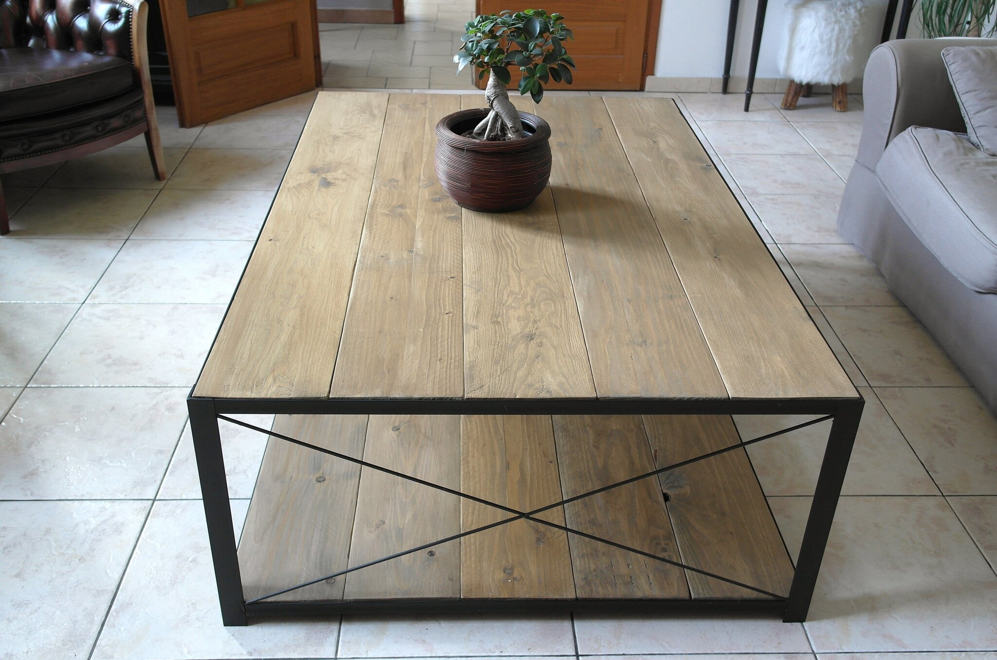 Table Bois Fer Design Grande Table Basse Bois Table Basse En Metal Châtellerault