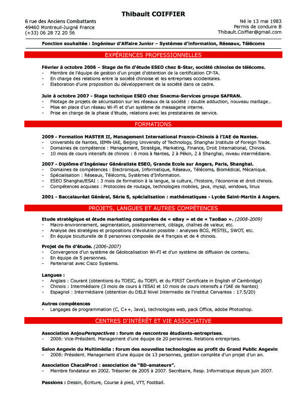 mobilite internationale cv anglais