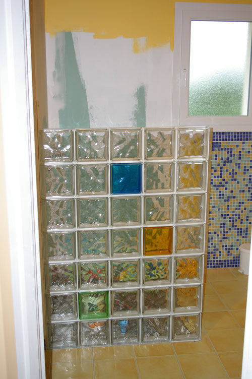 Pave De Verre Douche Mur En Brique De Verre - Photospassion