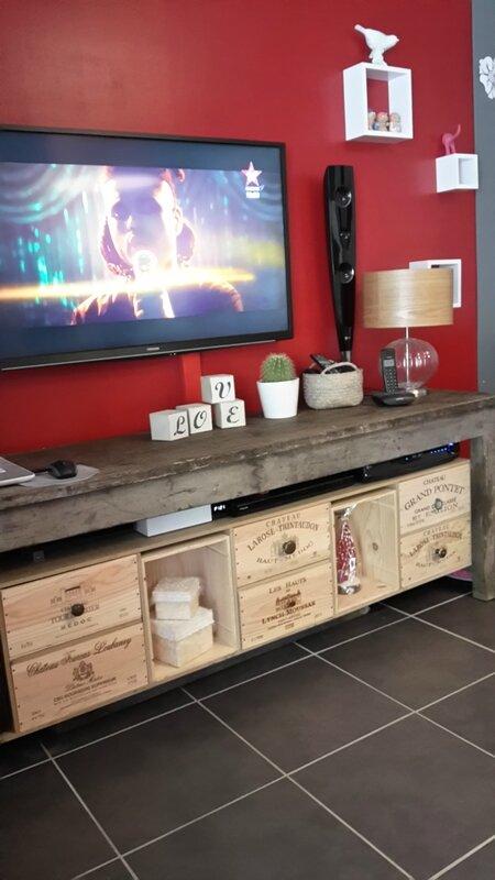 Meuble TV avec caisses à vin u2026 Pinteresu2026