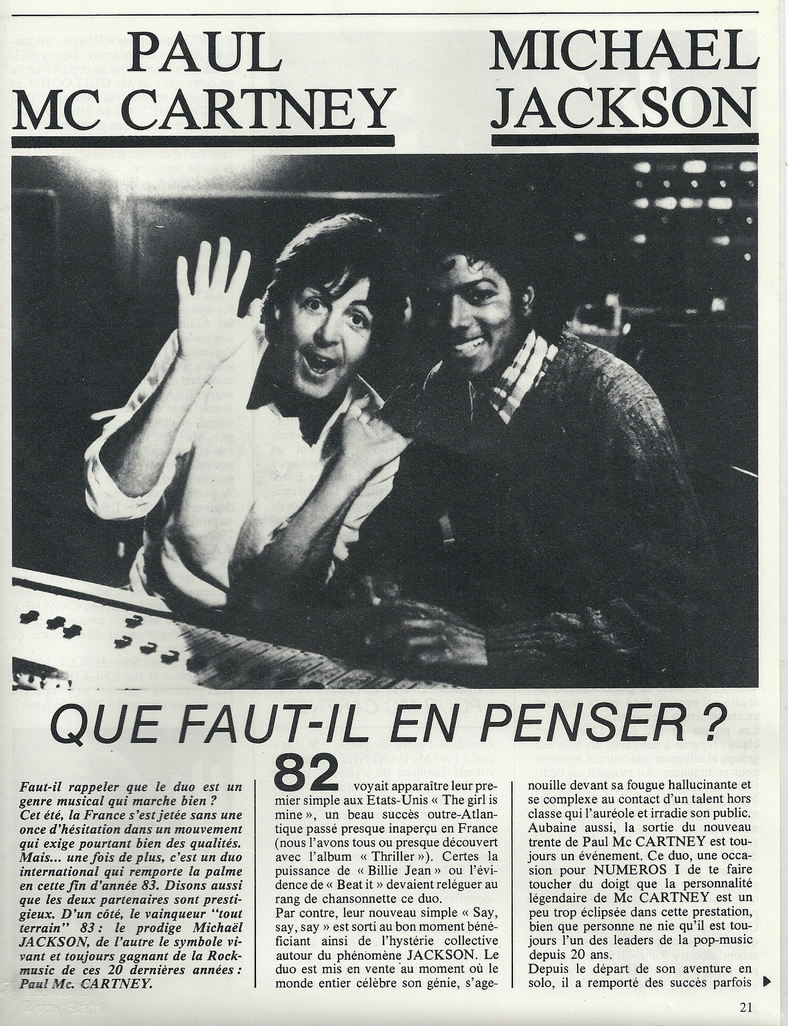En Suite Bad Thriller Era: Paul Mccartney - Michael Jackson; Que Faut