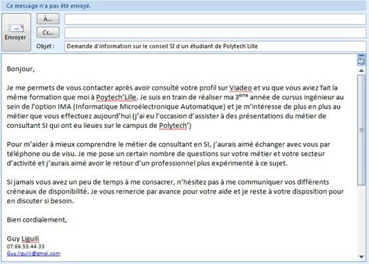 mail pour envoyer cv stage