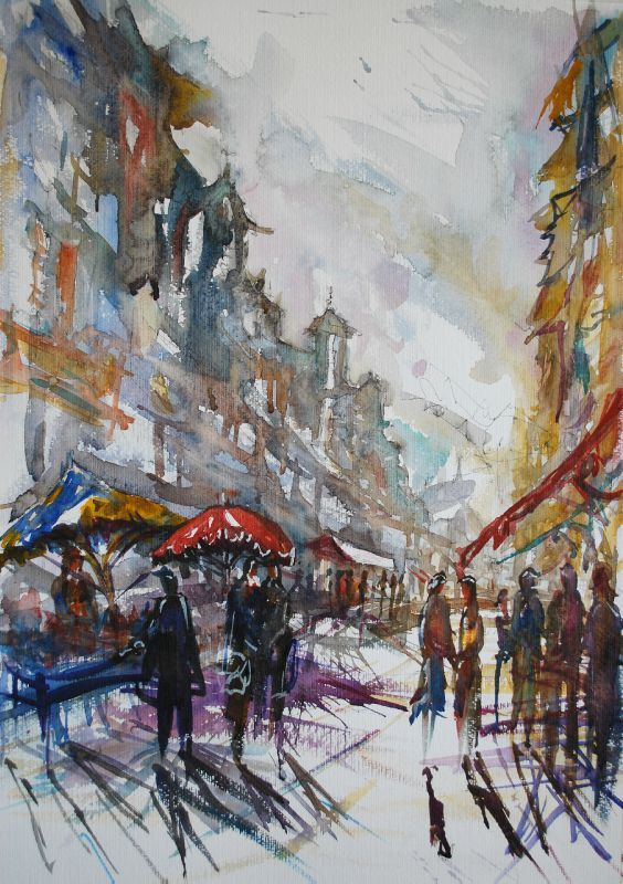 Terrasse Du Port Rue De Paris (aquarelle 70x50 2011) - Charly Favard Creations