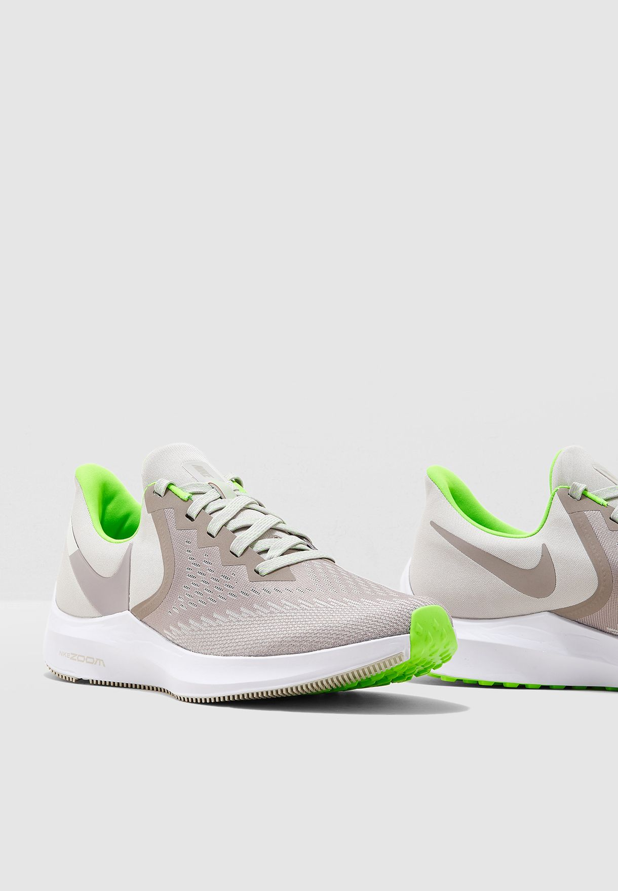 Nike Zoom Grey And Green Zoom Winflo 6
