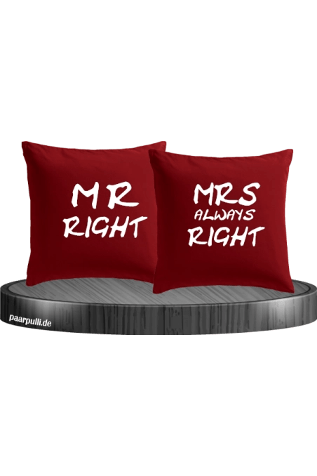 Mr Mrs Right Kissenbezug Im Partnerlook Set