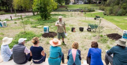 Landscape architect and permaculture educator, Steve Batley, teaching aquaponics at Randwick's permaculture Interpretive Garden.