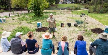 Landscape architect and permaculture educator, Steve Batley, teaching aquaponics at Randwick's permaculture Interpretive Garden.