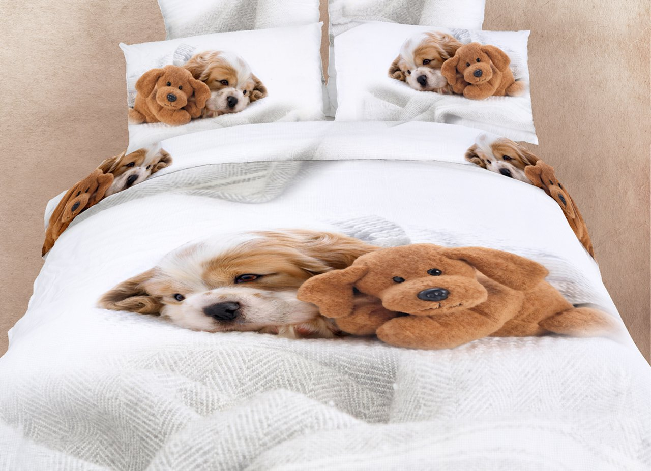 Grappige Dekbedovertrekken Doggies Queen Bedding Cute Dogs Animal Print Duvet Cover