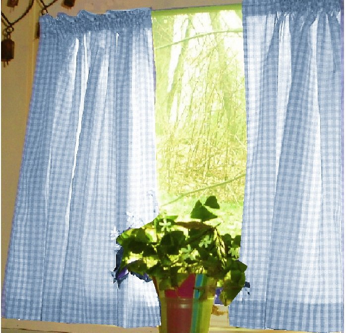 Karo Gardinen Blue Gingham Kitchen/café Curtain (unlined Or With White