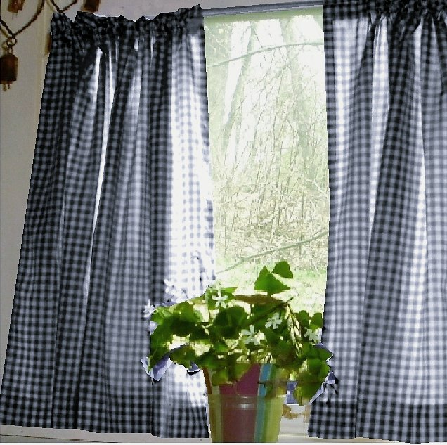 Karo Gardinen Navy Blue Gingham Kitchen/café Curtain (unlined Or With