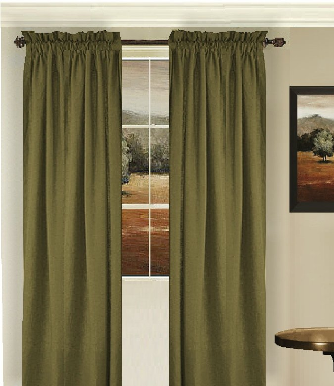 Shower Rod Solid Olive Green Colored Window Long Curtain (available
