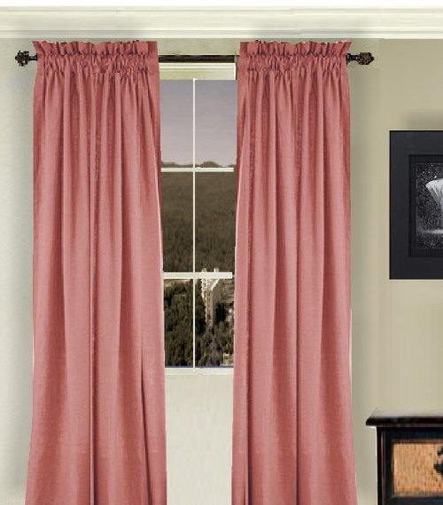 Shower Rod Solid Rose Colored Window Long Curtain (available In Many