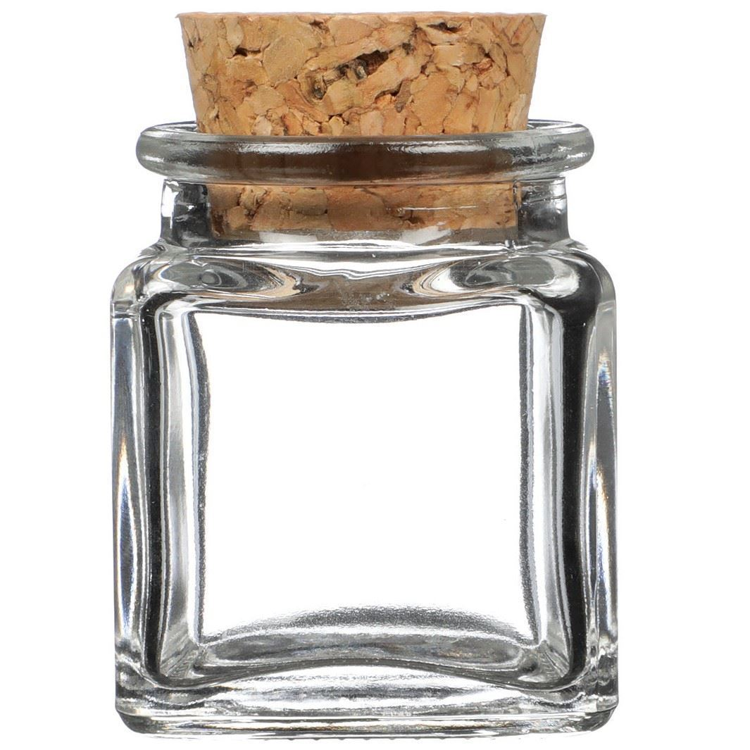 Cork Jar 1 4 Oz Clear Glass Cork Top Jar Square Decorative Cork