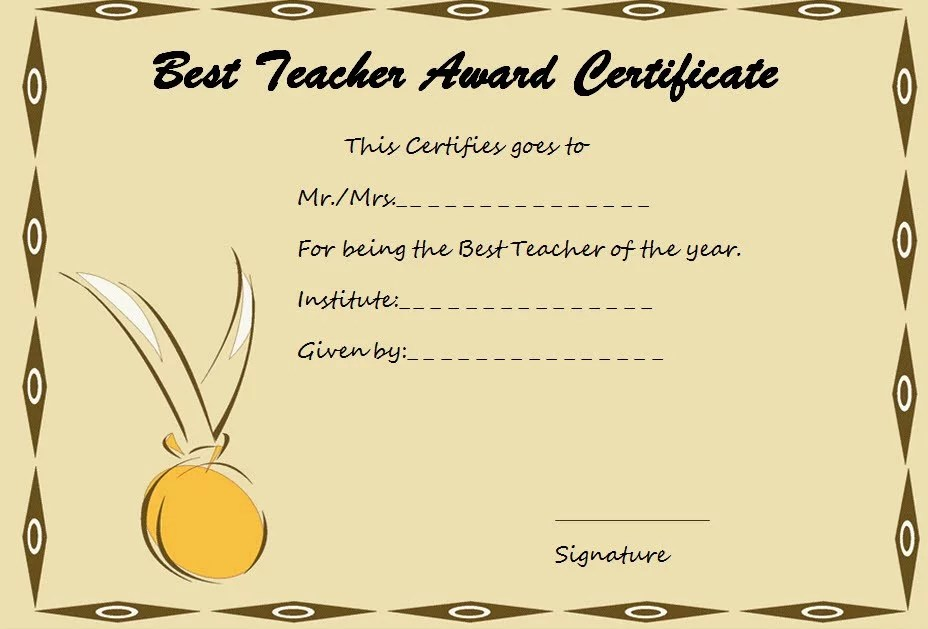 Best Teacher Certificate Template 1 Paddle At The Point
