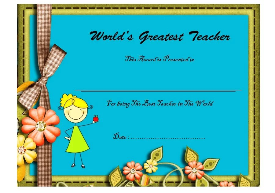 Best Teacher Certificate Template 10 Paddle At The Point