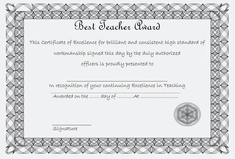 Best Teacher Certificate Template 3 Paddle At The Point