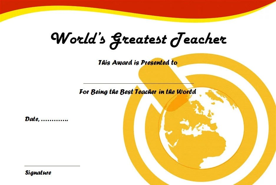 Best Teacher Certificate Template 4 Paddle At The Point