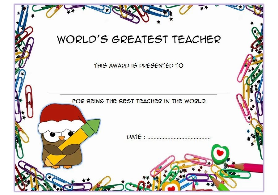 Best Teacher Certificate Template 9 Paddle At The Point