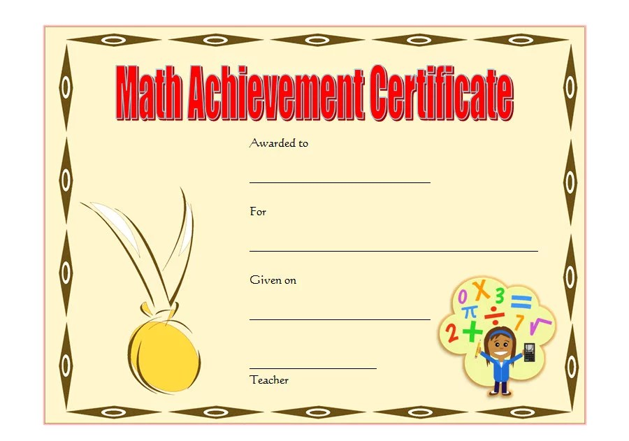 Math Achievement Certificate Template 5 Paddle At The Point