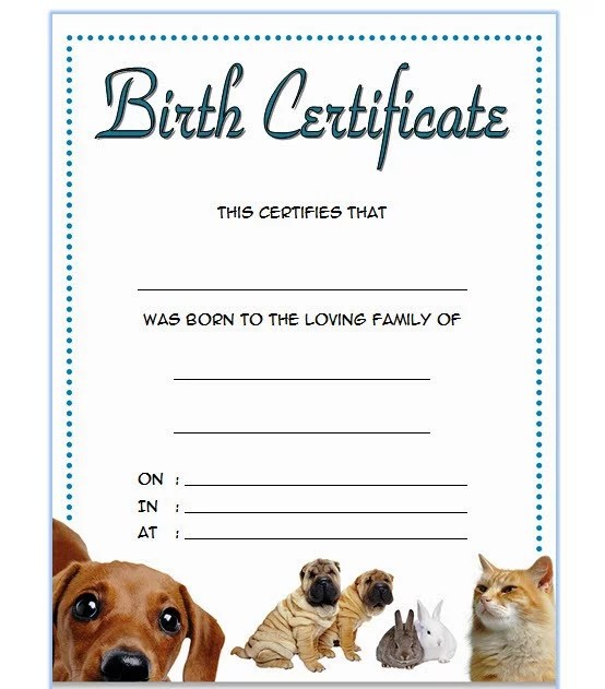 Pet Birth Certificate Template 3 Paddle At The Point