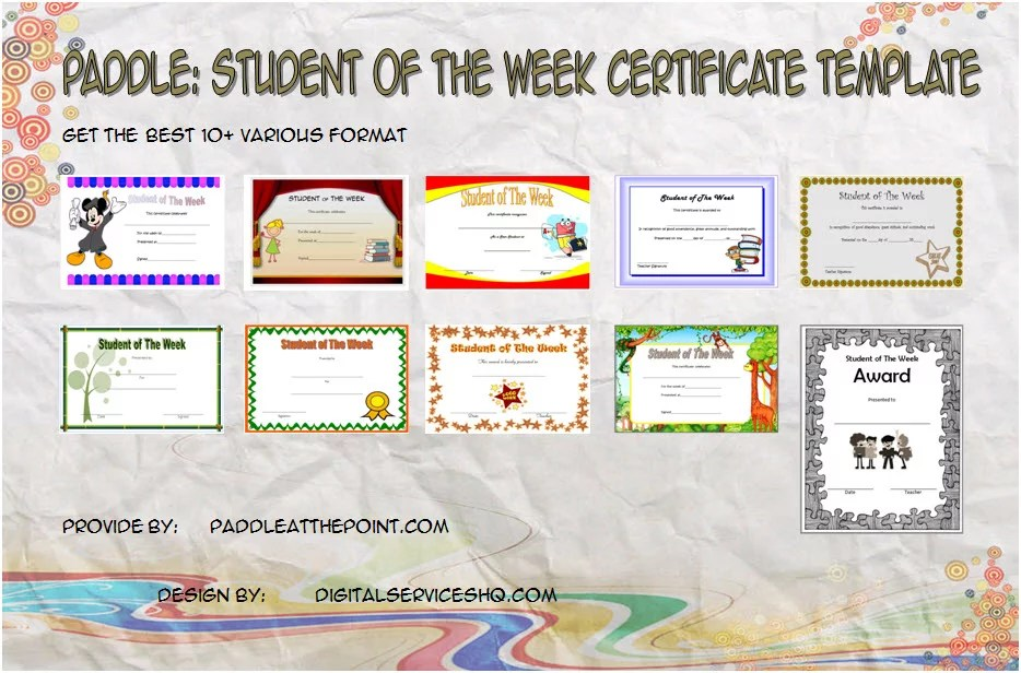 Student of The Week Certificate - 10+ Template Ideas