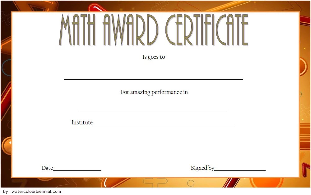 Math Award Certificate Template 1 Paddle At The Point