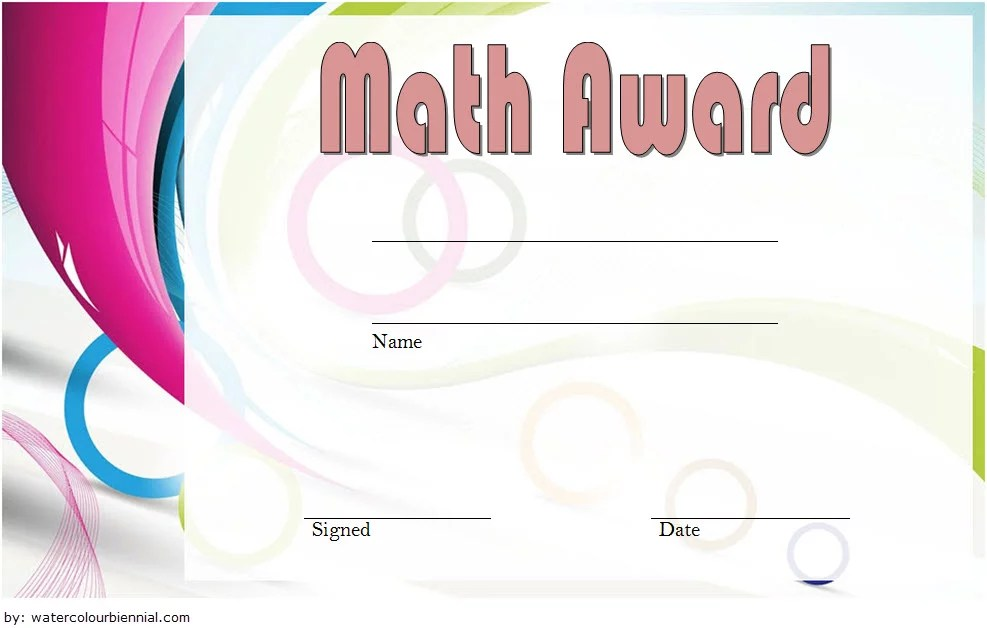 Math Award Certificate Template 6 Paddle At The Point