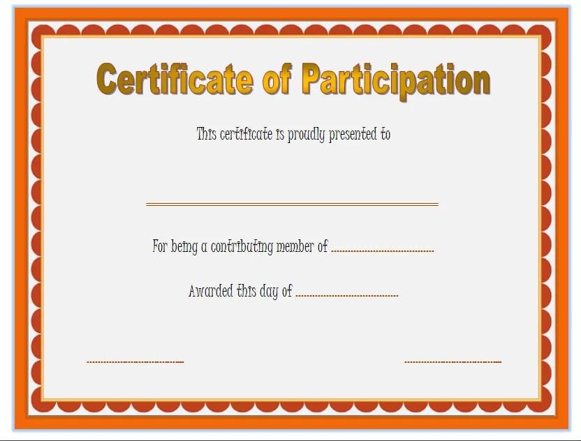 Participation Certificate Templates - 10+ Best Ideas