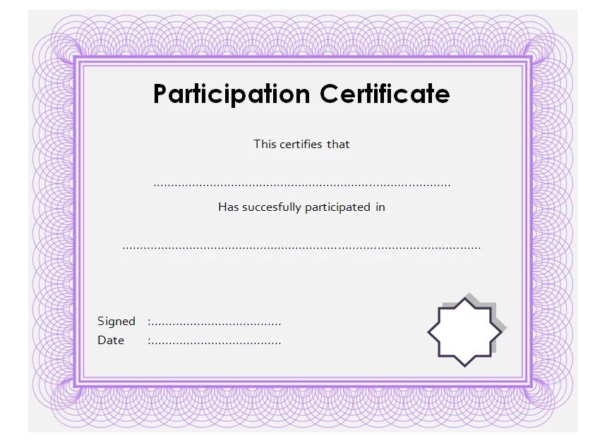 Participation Certificate Template 8 Paddle At The Point